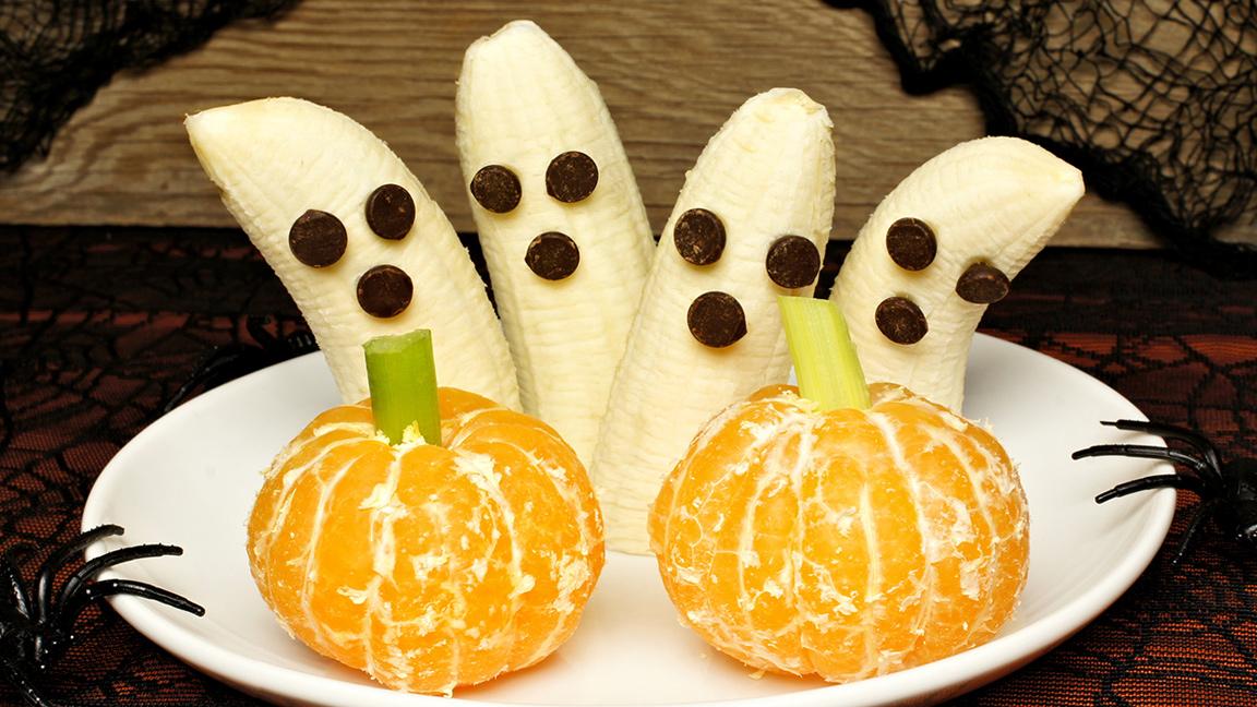 health halloween banana ghosts and tangerines pumpkins