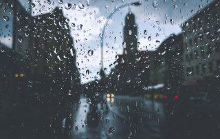 rainy gloomy weather downtown
