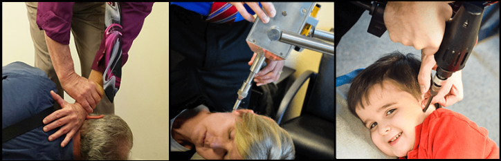 The three different ways to adjust the upper cervical region. By hand, hand-held instrument, and table mounted instrument.